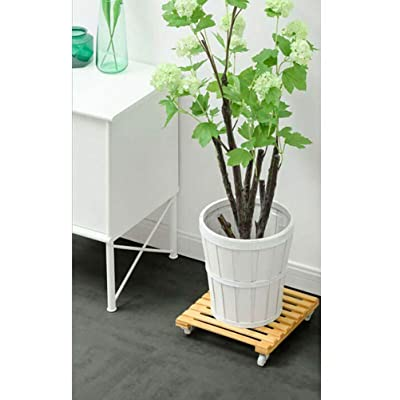 """Bamboo Plant Stand with Wheels, Mobile Flower Pot Mover Roller for Patio Outdoor Heavy Duty Plant Caddy with Wheels Rolling Tray 12""""x12"""" 1 piece: Home Improvement"""