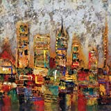 Portfolio Canvas Décor Printed Canvas Wall Art Painting, 35 by 35-Inch, City Lights, Framed and Stretched, Ready to Hang