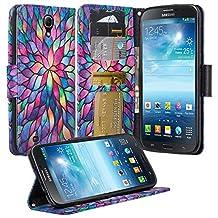 Galaxy Mega 6.3 Case, Samsung Galaxy Mega 6.3 Wallet Case, Wrist Strap Folio [Kickstand Feature] Pu Leather Wallet Case with ID&Credit Card Slot For Galaxy Mega 6.3, (Rainbow Flower)