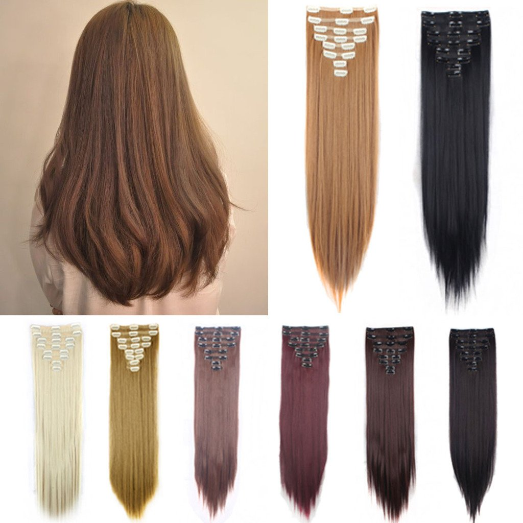 FUT 18 Clips in 8 PCS Double Weft Synthetic Hair Pieces Extensions Full Head Straight 23inch 175g for Girl Lady Women Dark Auburn