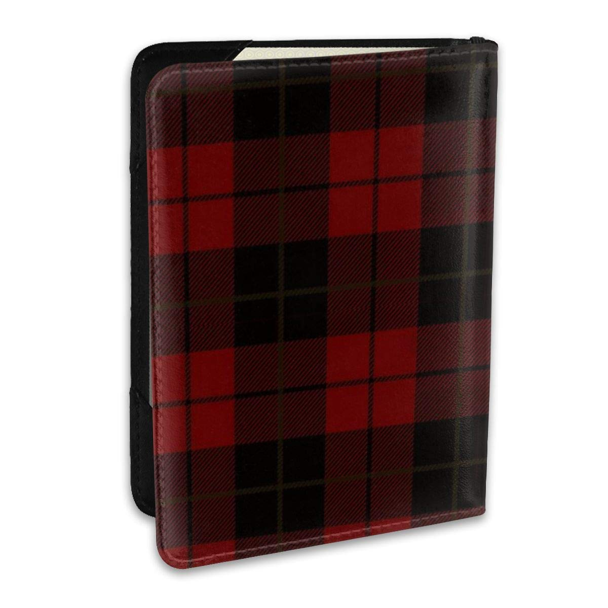 Black Red Tartan Fashion Leather Passport Holder Cover Case Travel Wallet 6.5 In