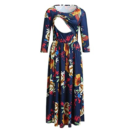 f1db035393820 Nacome_Promotion Breastfeeding Dress,Floral Labor Delivery Maternity  Nursing Dress Pregnancy Gown Hospital XX-Large Blue: Amazon.in: Home &  Kitchen