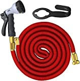 100FT Garden Hose ,Expanding Garden Collapsible Flexible Lightweight Hose ,Solid Brass Connectors,Hose Holder and 8 Pattern Spray Nozzle Water Hose Set (Red) (100 Feet)