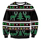 Ecohaso Unisex 3d Print Ugly Christmas Pullover Sweater Graphic Long Sleeve Shirts (Asia S=US 4-12, Deer (Black))