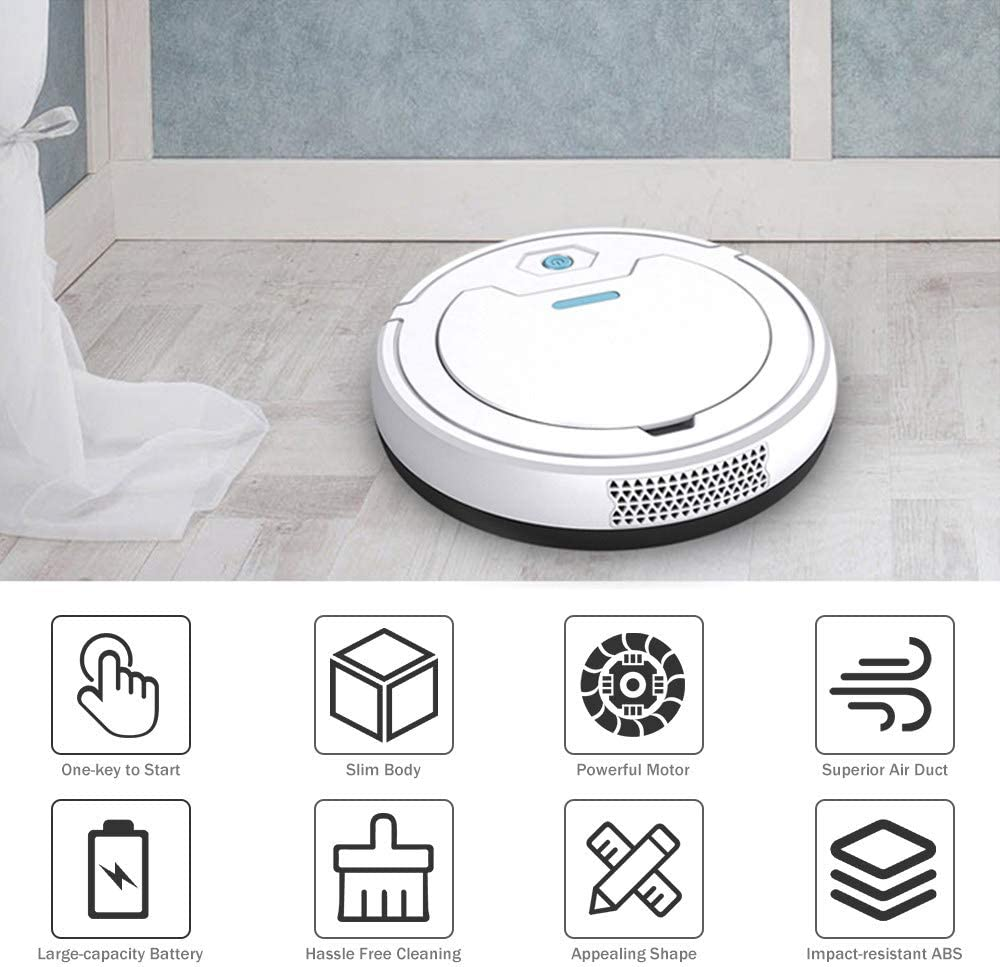 Lku Intelligent Balayage Balai Robot Aspirateur 1800Pa Forte Aspiration Poils d\'animaux Nettoyants pour Tapis Dur, Blanc Blanc