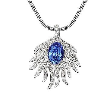 3e491b8c06d9 QINJLI Collar con Temperamento de Cristal Elementos Pavo Real Plumas  joyería Creativa  Amazon.es  Jardín