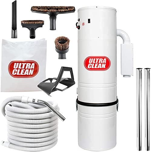 Central Vacuum Ultra Clean Unit 7,500 sq. ft. with 30 Hose Cleaning Attachment Set