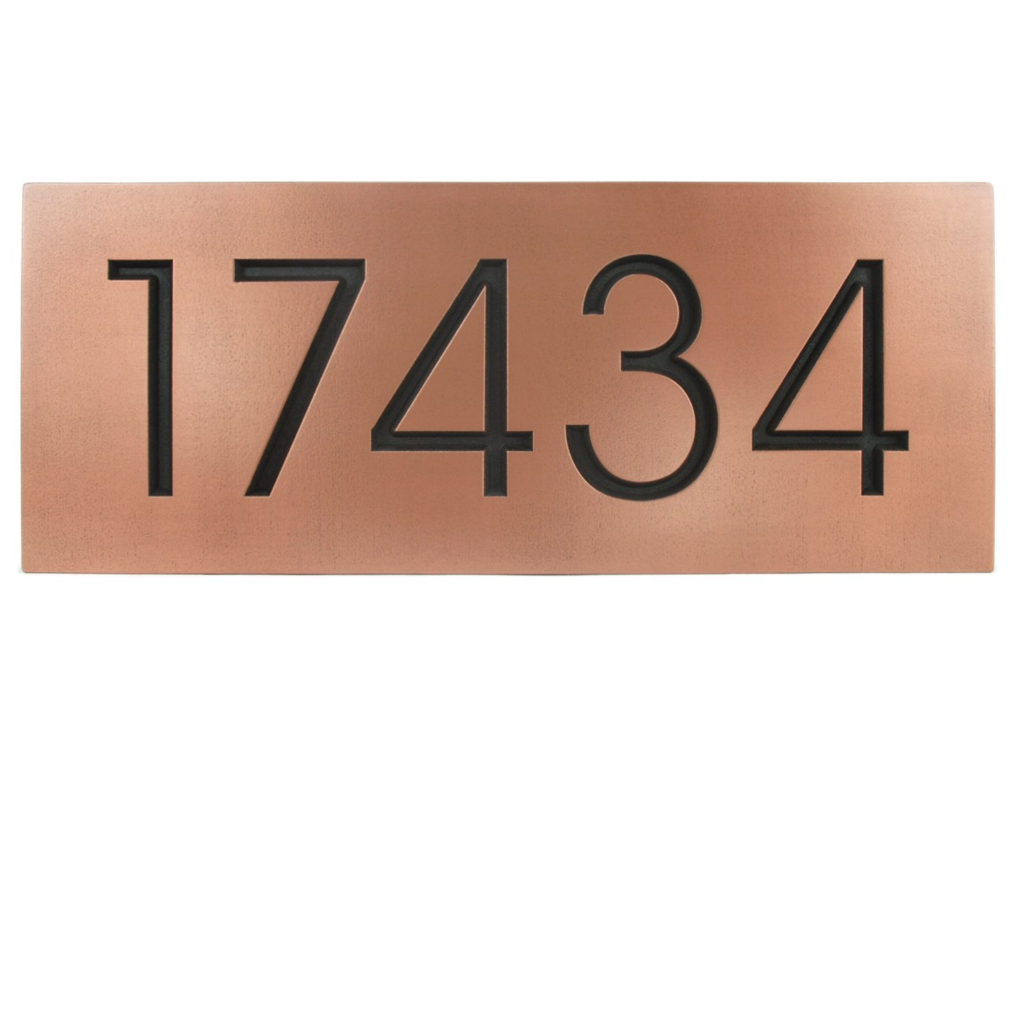 Modern Advantage Home Numbers for 5 or 6 Numbers 20x8 - Recessed Copper Patina Coated