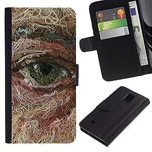 EuroTech - Samsung Galaxy Note 4 SM-N910 - Eye Face Art Painting Deep Meaning - Cuero PU Delgado caso Billetera cubierta Shell Armor Funda Case Cover Wallet Credit Card