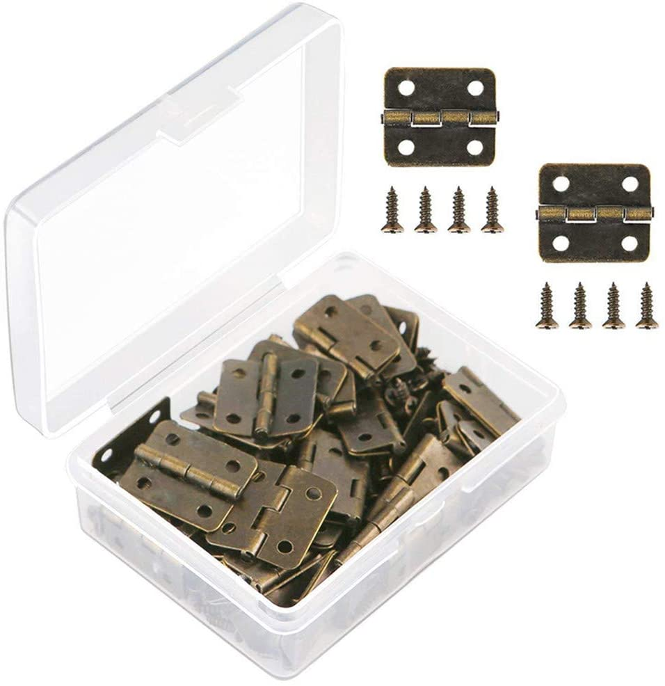 VIPMOON 50 Pieces Antique Bronze Mini Hinges Retro Butt Hinges with 200 Pieces Replacement Hinge Screws, with Plastic Contain Box