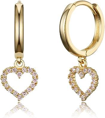 14k Gold Plated Brass Heart Channel Cz Huggy Baby Girls Hoop Earrings