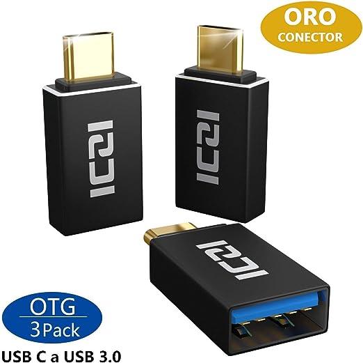 ICZI Adaptador USB Tipo C a USB 3.0 (3 Pack) Contactos chapados en Oro, Adaptadores USB OTG con Carcasa de Aluminio para Cables USB y Dispositivos USB-C: Amazon.es: Electrónica