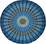 Sanganeer Print Round Tablecloth 72' Cotton Dark Blue