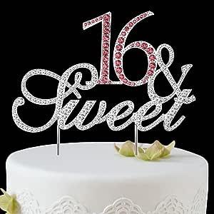 BABEYOND Rhinestone Crystal Happy Birthday Decoration Cake Topper Pick for Birthday Party Supplies (16yrs-silver)