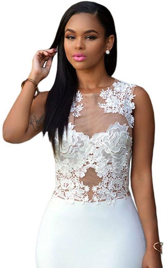 ed051cfe68e6 YeeATZ White Lace Nude Mesh Evening Maxi Dress(Size,M): Amazon.ca: Clothing  & Accessories