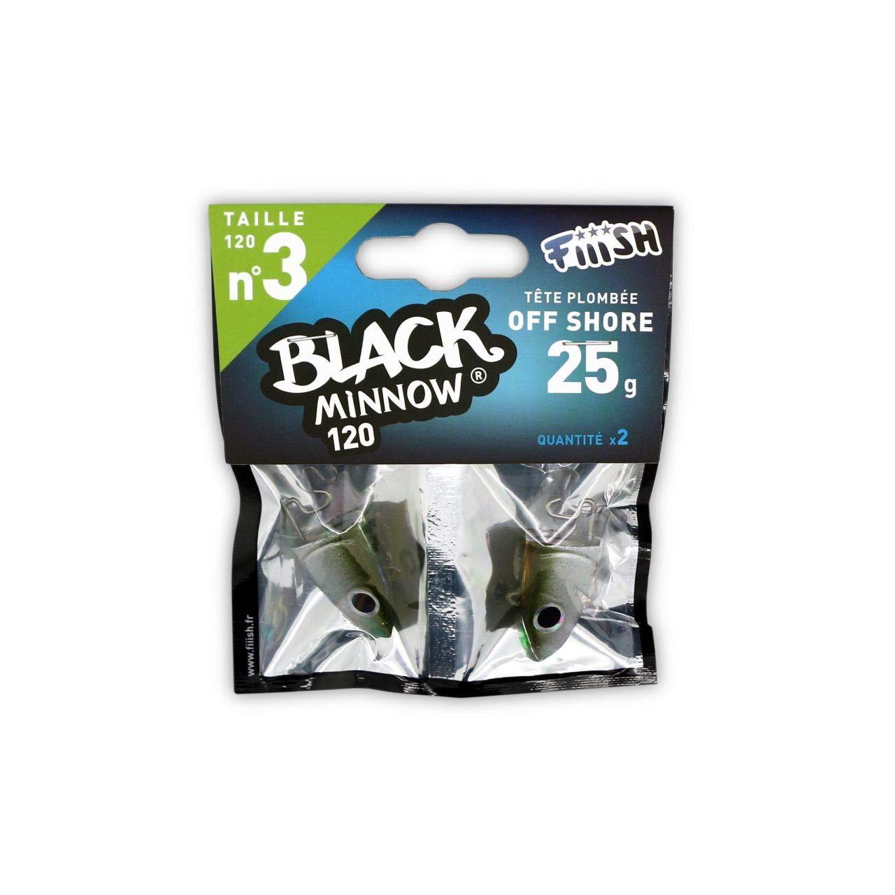 Kaki//Silver 25 g Fiiish Black Minnow 2 Fishing Jig Heads