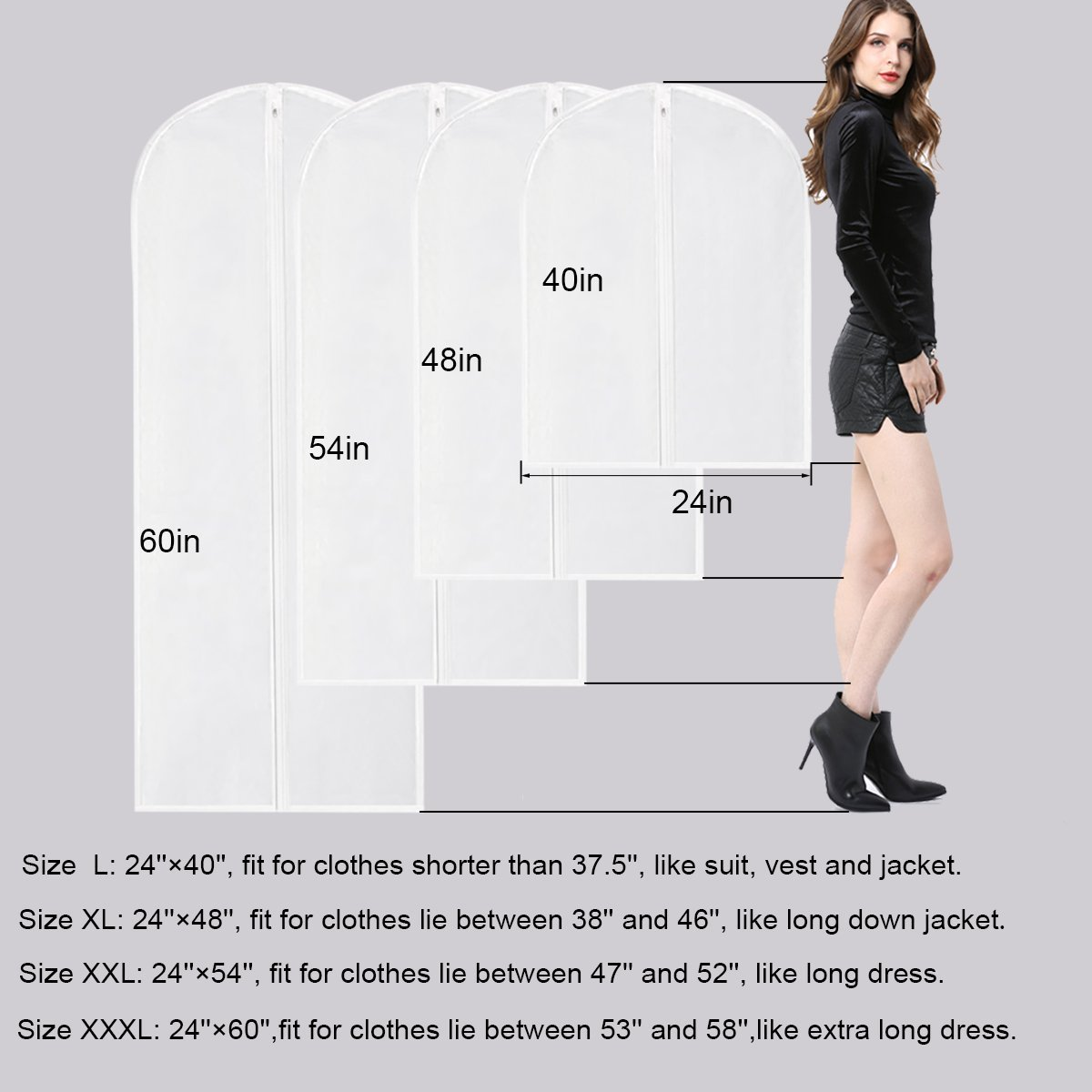 Garment Bag for Long Dress,60 Inch Moth Proof Garment Bag Clear Dust Cover White Breathable Full Zipper For Clothes Storage Closet Pack Of 6 by homeminda (Image #3)