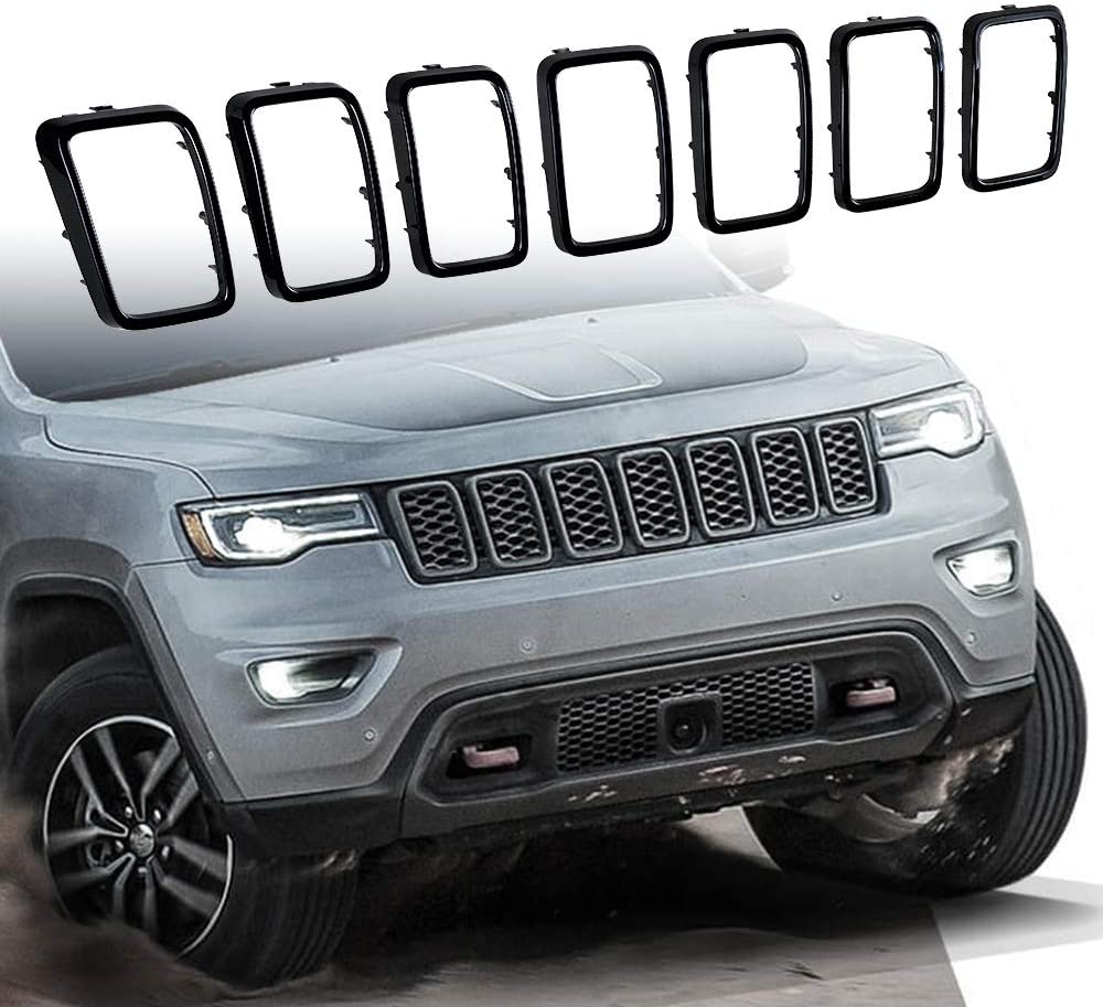 Astra-Depot Matte Black Front Upper Grille Grill Inserts Kit Compatible with 2017-2019 2020 Jeep Grand Cherokee Model