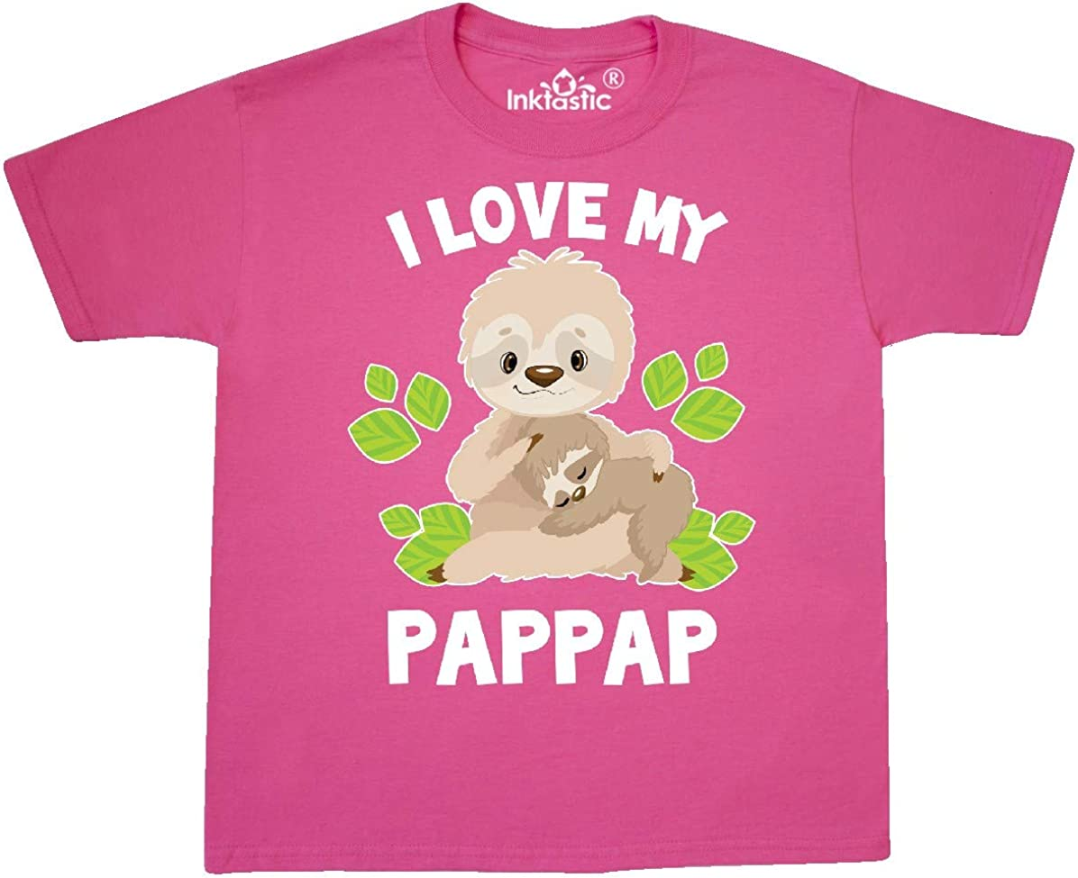 inktastic Cute Sloth I Love My Pappap with Green Leaves Long Sleeve Creeper