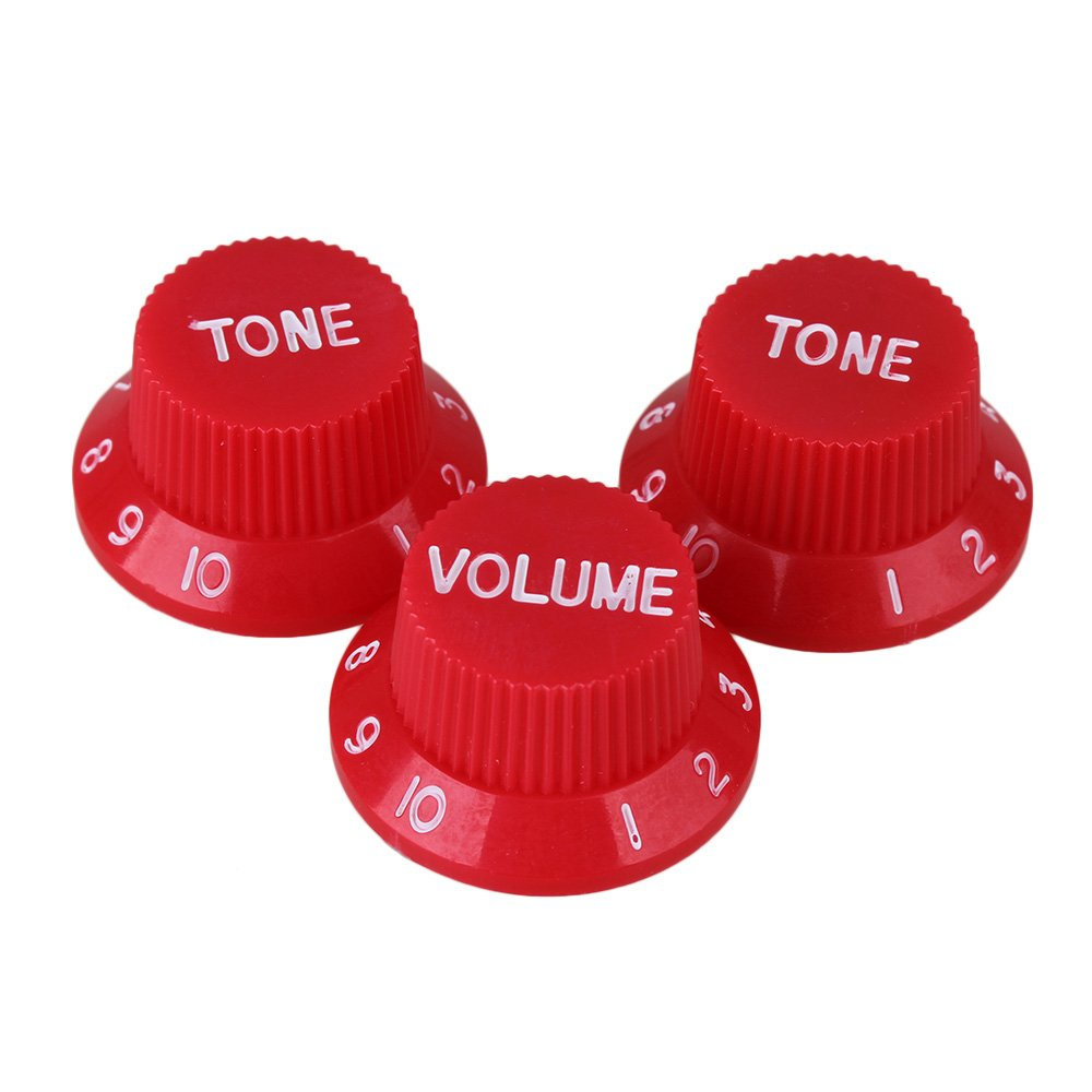Yibuy Red Color 1V2T Plastic Electric Guitar Bell Hat Knobs with White Numbers for Electric Guitar Pack of 3