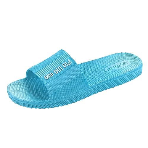 6c5e0dfb1 Angelliu Women s Pure Color Plastic Beach Bathroom Slippers Summer Sandals  Blue ...