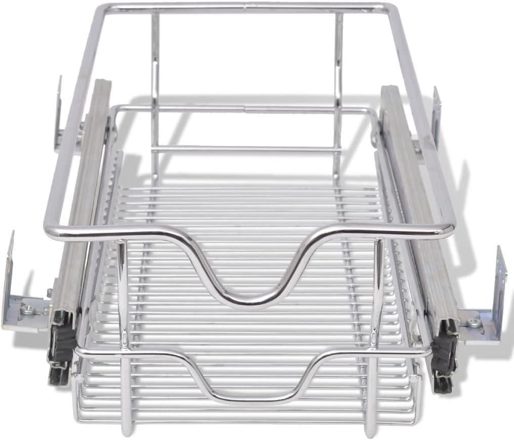 Under Shelf Basket Drawer Storage Organizer White Sliding Holder Cabinet Pantry