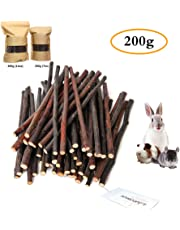 200g (7oz) Apple Sticks, Natural Apple Branch Pet Snacks Chew Toy, Molar and teeth grinding Toy for small pets-Pet Snack for Rabbits, Chinchillas, Hamsters, Guinea Pigs by HongYH