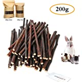 200g (7oz) Apple Sticks, Natural Apple Branch Pet Snacks Chew Toy, Molar and teeth grinding Toy for Small Animal Rabbits…