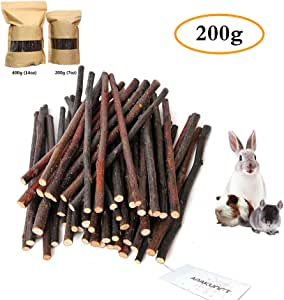 200g (7oz) Apple Sticks, Natural Apple Branch Pet Snacks Chew Toy, Molar and teeth grinding Toy for Small Animal Rabbits, Chinchillas, Hamsters, Guinea Pigs by HongYH