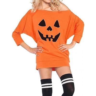WLLW Women Halloween Off Shoulder Long Sleeve Pumpkin Sweatshirt Tops Blouse