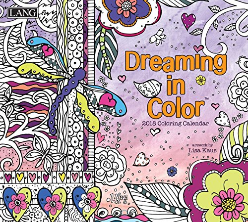 """LANG - 2018 """"Coloring"""" Wall Calendar - """"Dreaming In Color"""", Artwork by Lisa Kaus - 12 Month, Open Size 13.4"""" X 24"""""""