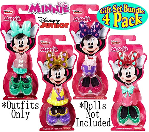 Fisher-Price Disney Junior Minnie Mouse Snap-On Fashions Dance, Bedtime, Summer & Winter Complete Gift Set Bundle - 4 Pack