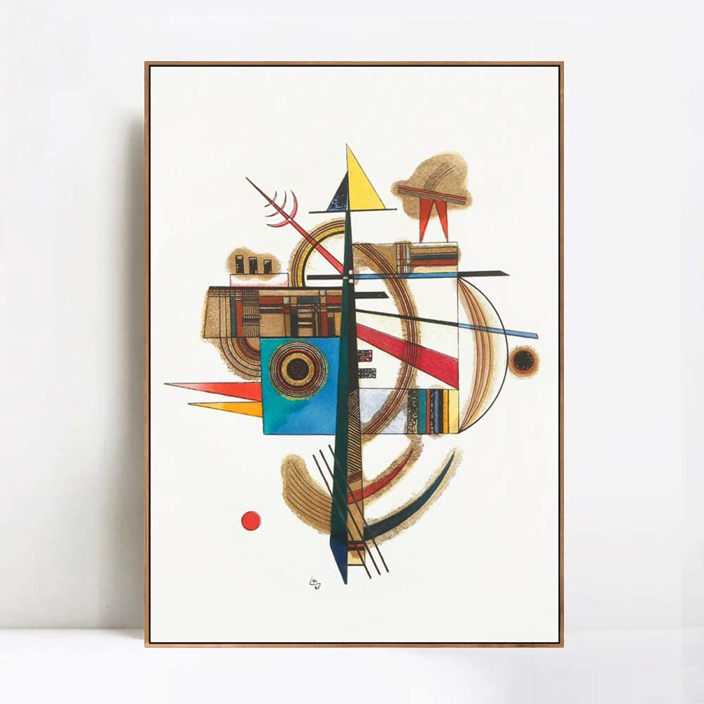 "INVIN ART Framed Canvas Giclee Print Art Series 5 by Wassily Kandinsky Wall Art Living Room Home Office Decorations(Wood Color Slim Frame,24""x32"")"