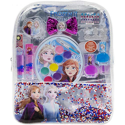 Townley Girl Disney Frozen 2 Backpack Cosmetic Set, Includes: Lip Gloss Compact, Hair Bows, Nail Polish, Nail File, Lip Balm, Toe Spacer, Nail Stickers from TownleyGirl