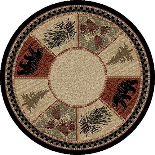 Dean Cade's Cove Lodge Cabin Bear Pine Cone Carpet Area Rug Size: 5'3
