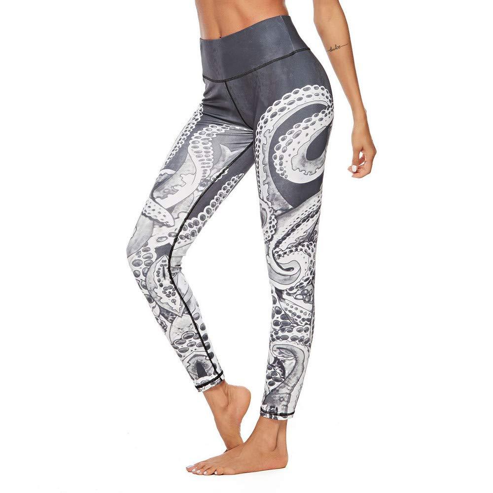 MEIbax Leggings Deportes Pantalones para mujeres de Estilo retro Chino Estampado de las entrenamiento Athletic Gimnasio Fitness Gym Yoga de Cintura Alta Skinny Casual Mallas elá sticas