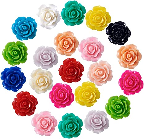 100 Mixed Color Flatback Resin Star Cabochons 12mm Flower Top Embellishments