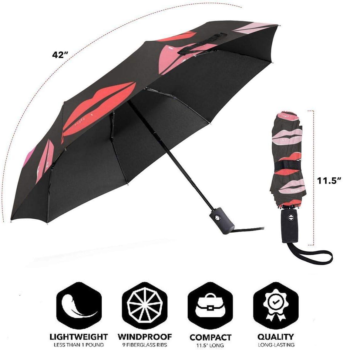 Valentines Lips Kiss Love Red Pink Umbrella Compact Rain/&Wind Repellent Umbrellas Sun Protection With Anti UV Coating Travel Auto Folding Umbrella