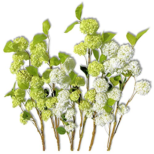 Life-like Artificial Viburnum, Pack of 6 Extra Long Stems, Snowball White and Pale Green, 33 ½ Inches, By Whole House Worlds - Long Stem Topiary