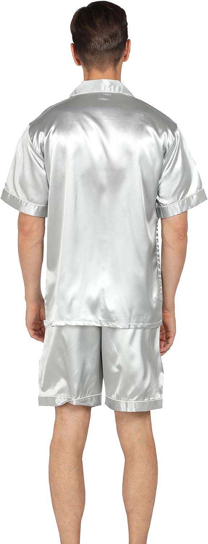 YIMANIE Mens Satin Pajamas Set Short Sleeve and Shorts Classic Sleepwear Loungewear