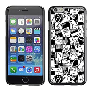 Mldierom Smartphone Protective Case Hard Shell Cover for Cellphone Iphone 6 Plus 5.5 Art Lines Hand Drawn White Black /