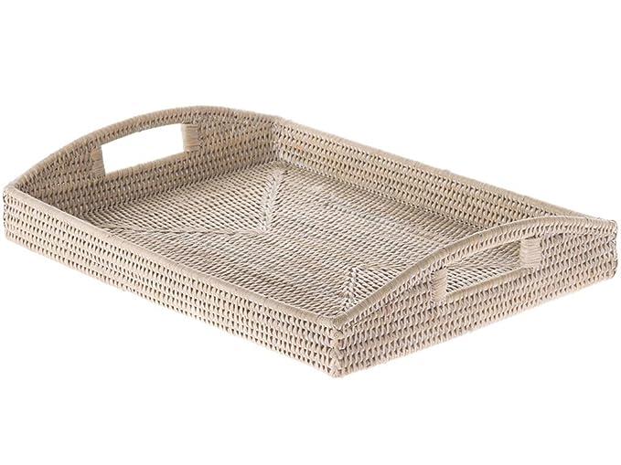 Amazon.com: kouboo la Jolla Rattan rectangular Bandeja para ...