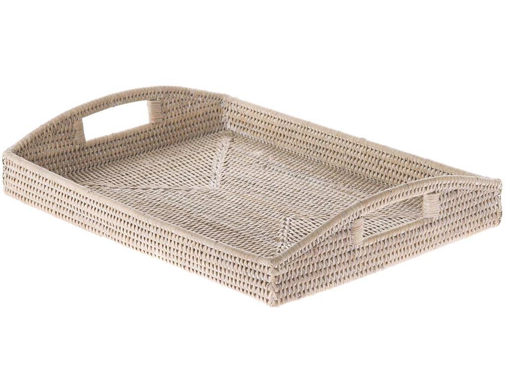 KOUBOO 1020043 La Jolla Rattan Rectangular Serving Tray, 18'' x 13.5'' x 3.5'', White Wash
