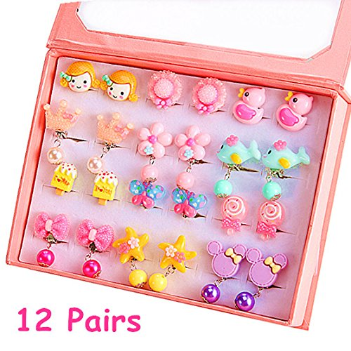 PinkSheep Clip On Earrings for Girls, Cupcake Earrings Butterfly Earrings for Kids, 12 Pairs, Kids Fake Earrings …