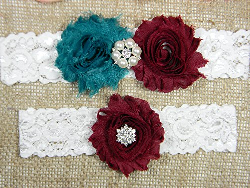 Teal and Maroon Garter, Wedding Garter Set, Bridal Garter Belt, Keepsake and Toss Stretch Lace Garters by PCB Studio