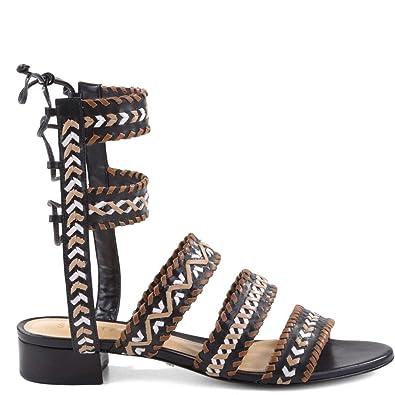 bf2837cdd85 SCHUTZ Corgi Black Flat Gladiator Sandal Embroidered with Whip-Stitching (5)