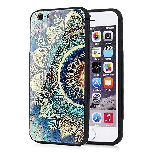 iPhone 6 Case, iPhone 6S Case, Luxury Protective Smooth Painted Green Circular Mandala Tempered Glass Cover Soft Rubber Shockproof TPU Bumper Frame Hard PC Bumpe Back Skin for iPhone 6 / iPhone 6S