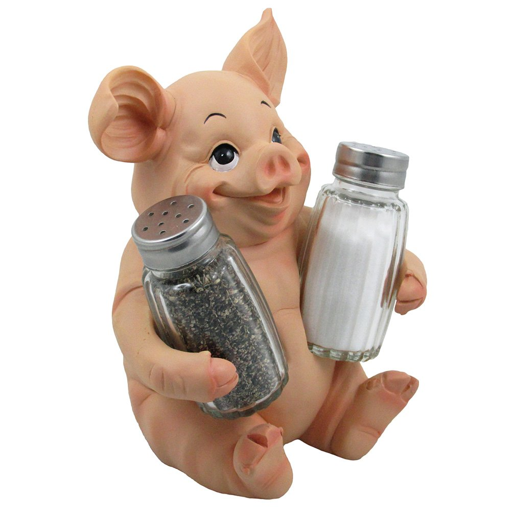Amazon.com: Decorative Pig Glass Salt And Pepper Shaker Set With Holder  Stand In Farm Animal Figurines, Sculptures U0026 Statues Or Rustic Country Kitchen  Decor ...