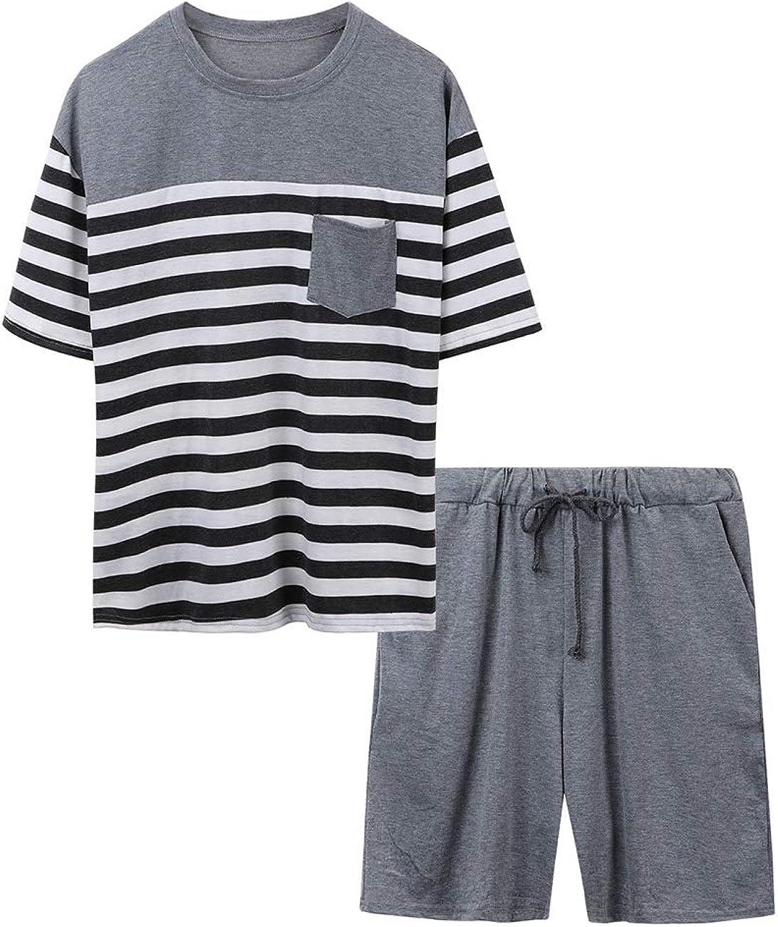 Airymap Ensemble de Pyjama Homme V/êtements Pyjama Homme T-Shirt Manches Courtes Cravate /à Rayures et Short pour Homme Grande Taille Ensemble de Literie Deux Parties