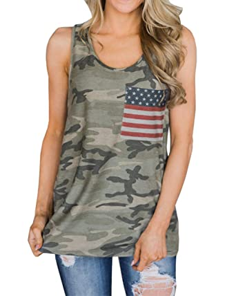 be1c7332d5c043 Barlver Women s American Flag Tank Tops 4th of July Camo Tee Loose  Sleeveless Tunic Patriotic USA T Shirts at Amazon Women s Clothing store